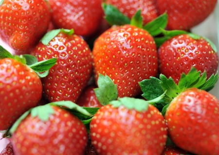 Close up delicious red strawberries. Stock Photo - 13695257