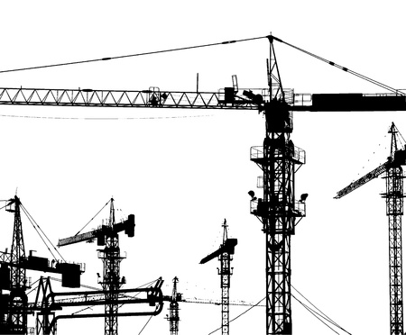 tower crane: Cranes on a construction site in China.