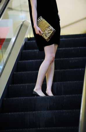 modern asian woman on the elevator, for shopping.  photo