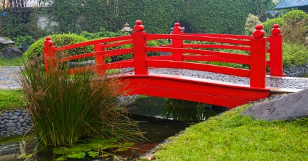 Japanese garden with red bridge and water. photo