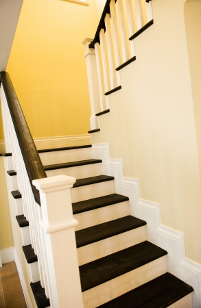 wooden railings: A gently winding staircase inside a large expensive home.