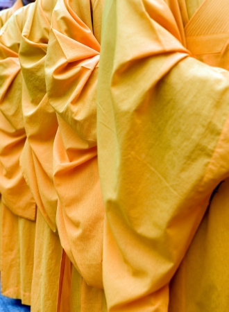 robes: a row of Chinese buddhist monk , detail of robes.  Stock Photo