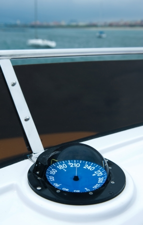periphery: The photograph of compass on a yacht.
