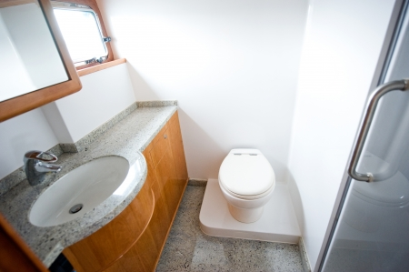 A view of a toilet in yacht.