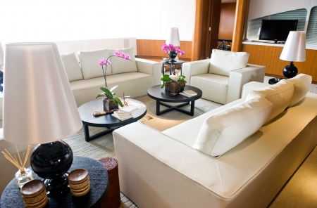 transport interior: luxury living room in a expensive yacht.