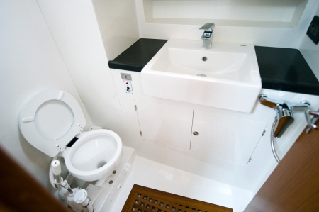 closestool: A view of a toilet in yacht.