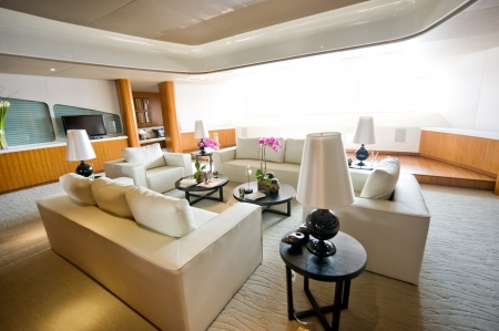 luxury living room in a expensive yacht.