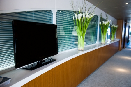 polished wood: Modern interior with flat screen tv.