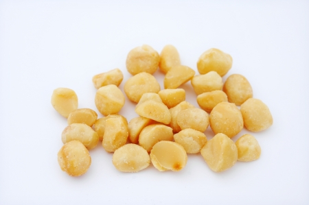 macadamia nut in isolated white photo