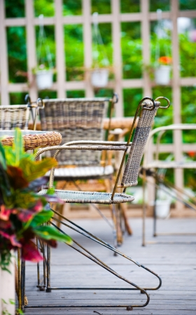 chairs and table in garden. photo