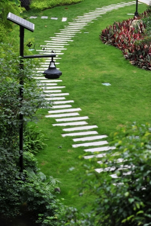 view of stone path in garden. Stock Photo - 13781263