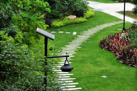 view of stone path in garden. Stock Photo - 13781270