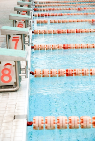 one lane: Start position with numbers  in competition swimming pool.