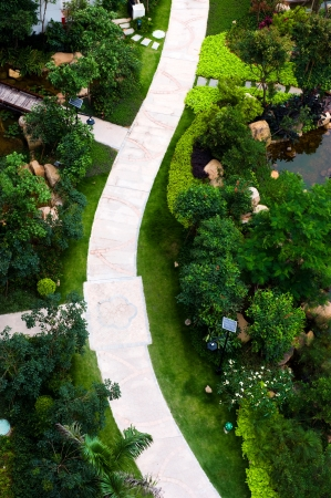 garden path: top view of curve brick path in garden, and surrounded by green plants.