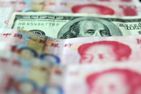 detail of us dollar and Chinese yuan , concept of exchange war Stock Photo - 13780869