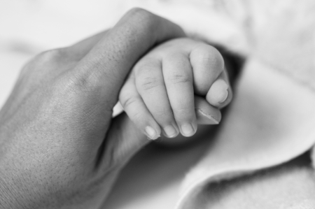 black grip: New-born asian baby hand in fathers palm.