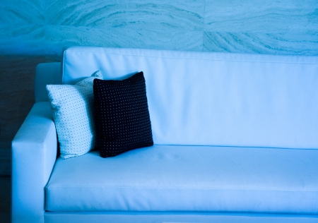 blue tone of two decorative pillows on a contemporary sofa.   photo