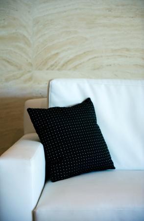 black decorative pillow on a contemporary sofa. Stock Photo - 13831395