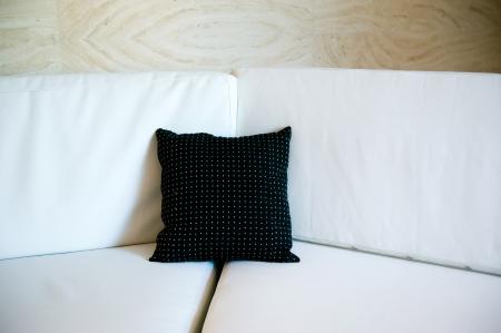 black decorative pillow on a contemporary sofa. Stock Photo - 13831067
