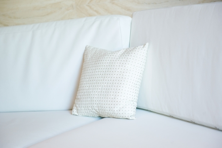 white decorative pillow on a contemporary sofa. Stock Photo - 13829694
