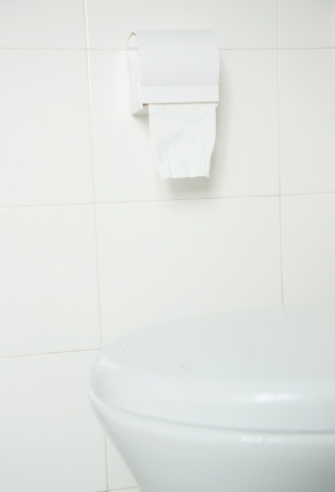 closestool: Toilet paper hanging on the wall.  Stock Photo