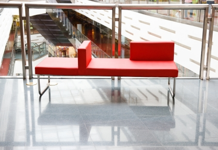 red chair: interior of modern business building