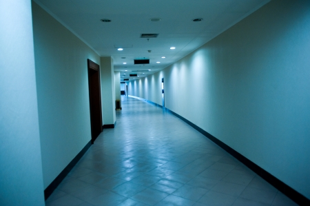 Bluish hospital corridor during the night - empty and quiet