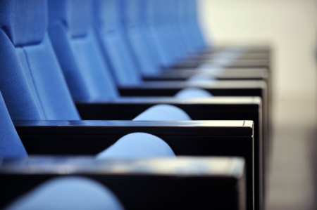 a line of blue theater chairs. Stock Photo - 13831314