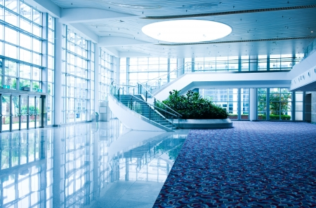 blue carpet: Modern architecture of large business conference center with blue tone.