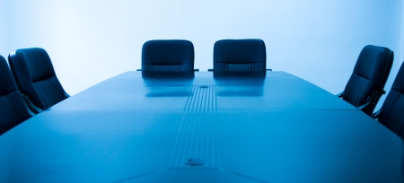 empty chair: blue tone of empty boardroom or meeting room.