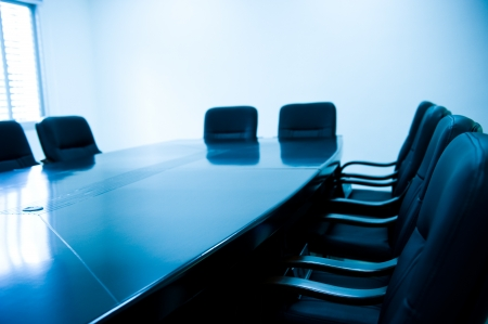 blue tone of empty boardroom or meeting room.   photo