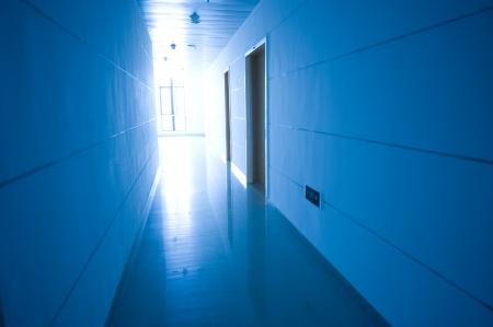 blue tone of long corridor in hospital.  Stock Photo - 13824735