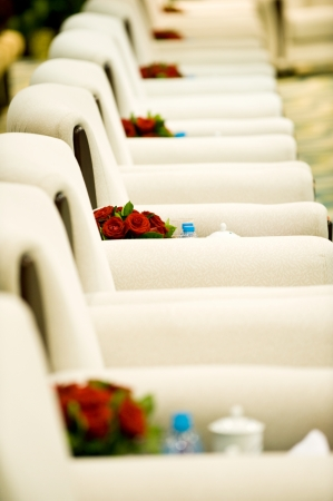 red flowers in the middle of chairs in boardroom. Macro with extremely shallow depth of field.  photo