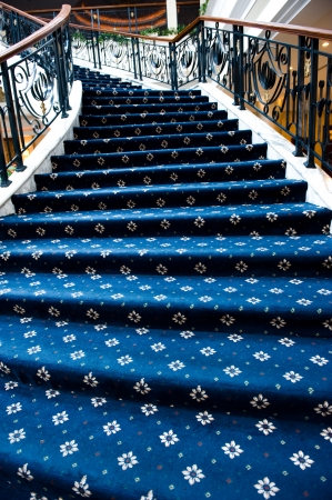 stair case with blue carpet. Stock Photo - 13861100