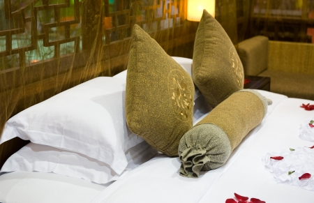 accomodation: Image of comfortable pillows and bed. Editorial