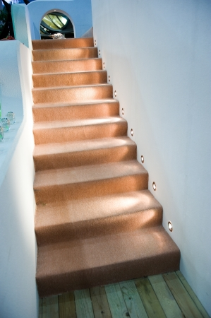Detail of a narrow ladder stairs with carpet in brown color
