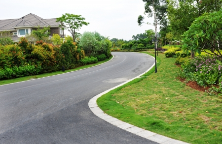 cornering: curve road nearby the house.