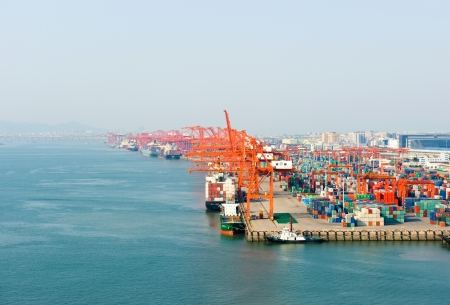 Panoramic view of containers in a harbour