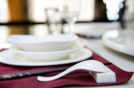 extremely: A fine table set for dinner in China. Macro with extremely shallow depth of field  Stock Photo