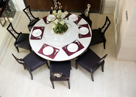 top view of oriental style dining room.