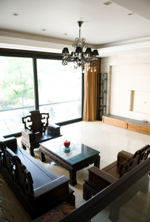 rosewood: Living room furnished with antique Chinese rosewood furniture.