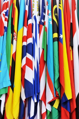 Rows of many countries flags together. 版權商用圖片