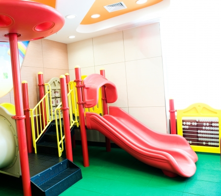 recreational area: empty playground in a restaurant for children.