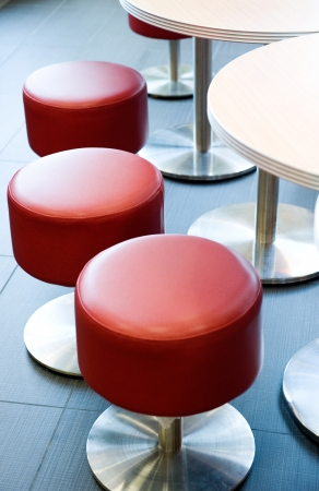 Comfortable leather-and-wood stools in a restaurant  bar.  photo