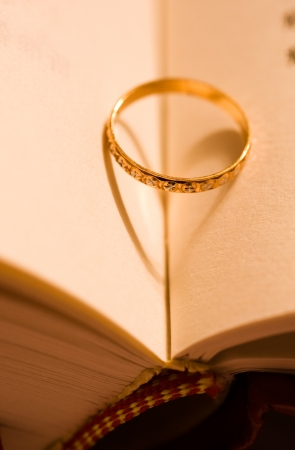 A wedding ring in a book.  photo