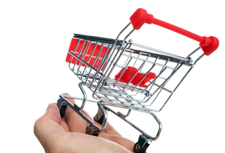 isolated small shopping cart in hand. Stock Photo - 13863512