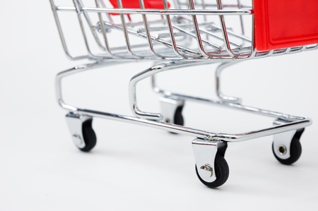 small details: isolated shopping cart on the white