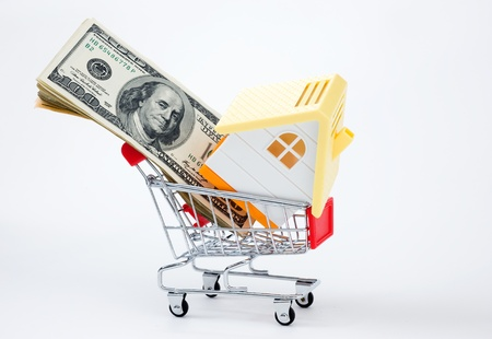 House and money in shopping cart on a white background. photo