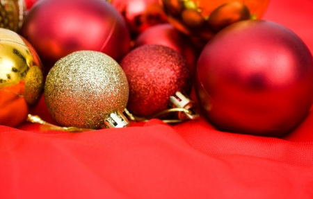 red and golden christmas balls on red background. Stock Photo - 13864027
