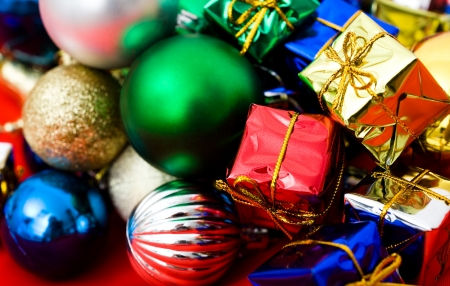 Christmas presents with colorful packages and decorations.